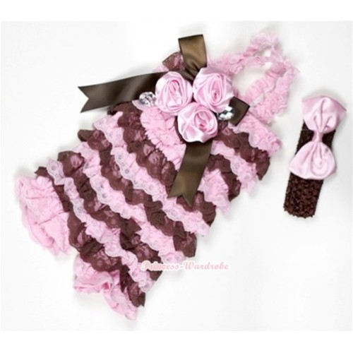 Light Pink Brown Lace Ruffles Petti Rompers With Straps With Big Bow & Bunch Of Light Pink Satin Rosettes& Crystal,With Brown Headband Light Pink Satin Bow RH110