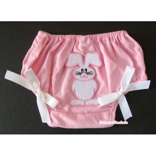 Light Pink Bloomer With Bunny Rabbit Print & White Bow BL86