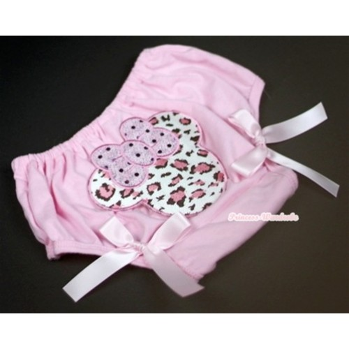 Light Pink Bloomer With Light Pink Leopard Minnie Print & Light Pink Bow BL92