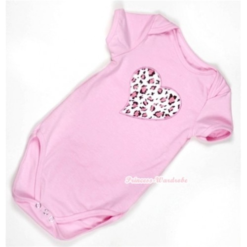 Light Pink Baby Jumpsuit with Light Pink Leopard Heart Print TH299