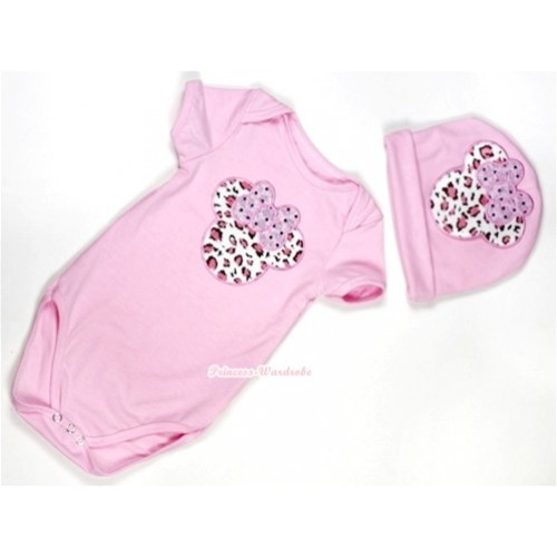 Light Pink Baby Jumpsuit with Light Pink Leopard Minnie Print with Cap Set JP27