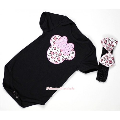 Black Baby Jumpsuit with Light Pink Leopard Minnie Print With Black Headband & Light Pink Leopard Satin Bow TH310