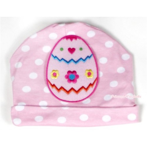 Light Pink White Dots Cotton Cap with Easter Egg Print TH315