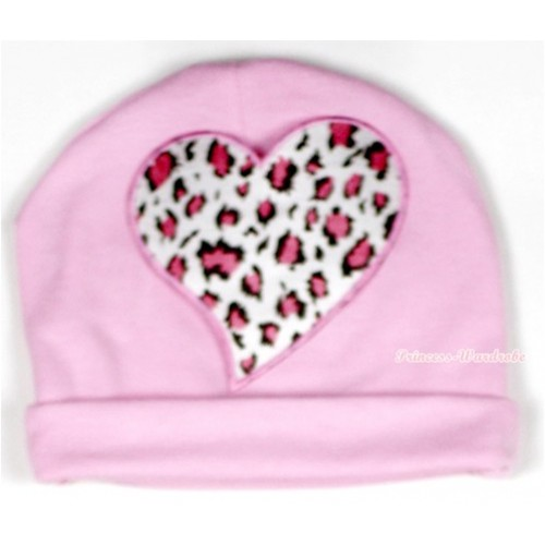 Light Pink Cotton Cap with Light Pink Leopard Heart Print TH324