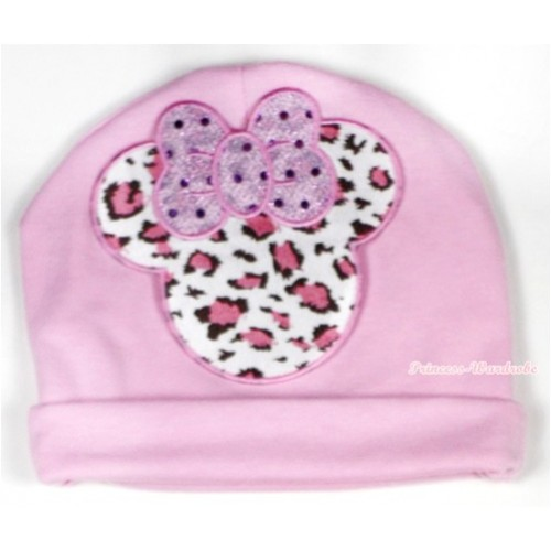 Light Pink Cotton Cap with Light Pink Leopard Minnie Print TH325