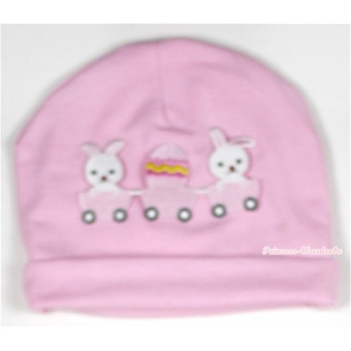 Light Pink Cotton Cap with Bunny Rabbit Egg Print TH329