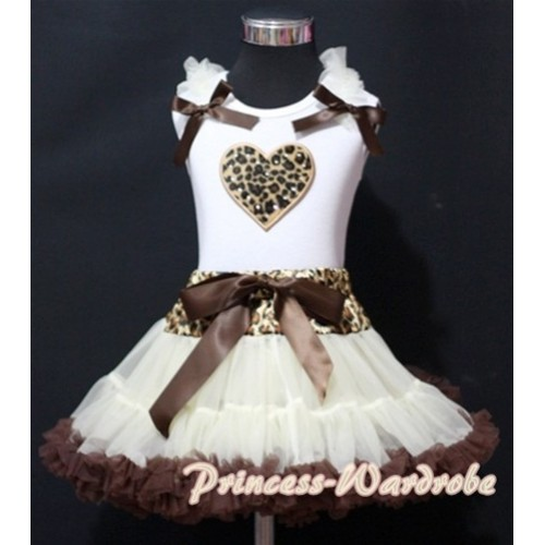 Cream White Leopard Waist Pettiskirt with Leopard Heart & Cream White Ruffles& Brown Bow White Tank Top MM144