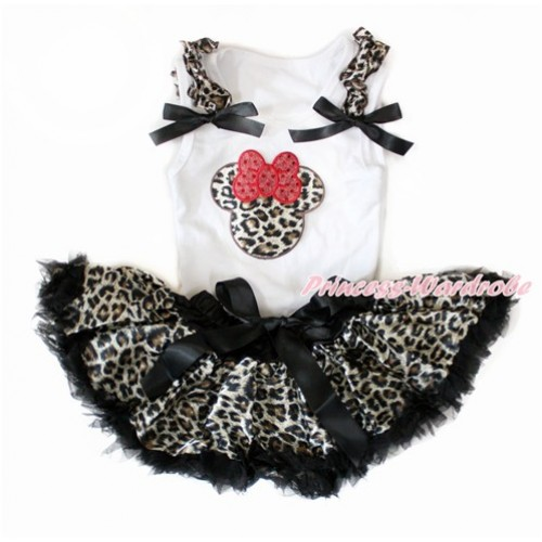 White Baby Pettitop with Leopard Ruffles & Black Bows with Leopard Minnie Print with Black Leopard Newborn Pettiskirt NN169