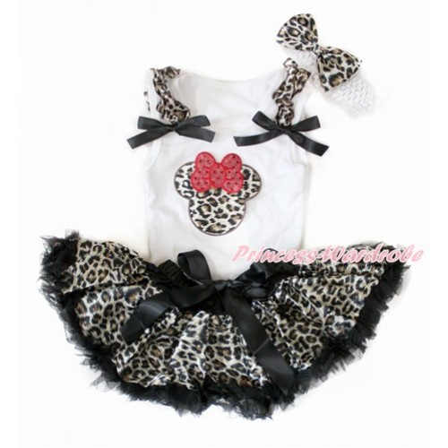 White Baby Pettitop with Leopard Ruffles & Black Bows with Leopard Minnie Print & Black Leopard Newborn Pettiskirt With White Headband Leopard Satin Bow NG1399