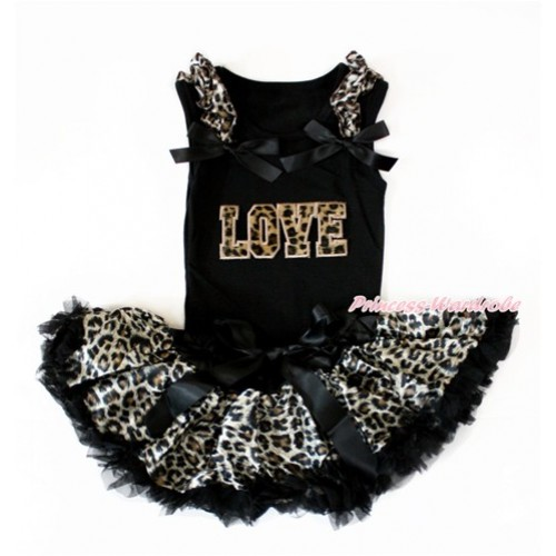 Black Baby Pettitop with Leopard Ruffles & Black Bow with Leopard LOVE Print with Black Leopard Newborn Pettiskirt NG1401