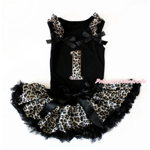Black Baby Pettitop with Leopard Ruffles & Black Bow with 1st Leopard Birthday Number Print with Black Leopard Newborn Pettiskirt NG1403