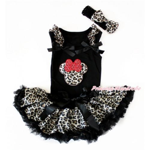 Black Baby Pettitop with Leopard Ruffles & Black Bows with Leopard Minnie Print & Black Leopard Newborn Pettiskirt With Black Headband Leopard Satin Bow NG1406