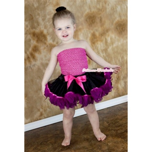 Hot Pink Crochet Tube Top with Black Mix Hot Pink Feather Baby Pettiskirt CT507