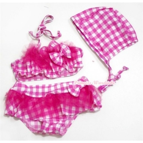 Hot Pink White Checked Bikni Swimming Suit with Swim Cap SW58