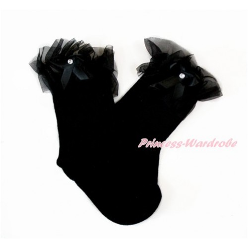 Plain Style Black Socks with Black Ruffles and Bow H315