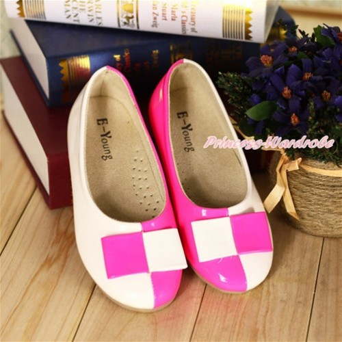 Hot Pink White Plaid Patent Leather Slip On Girl Shoes B18HotPink