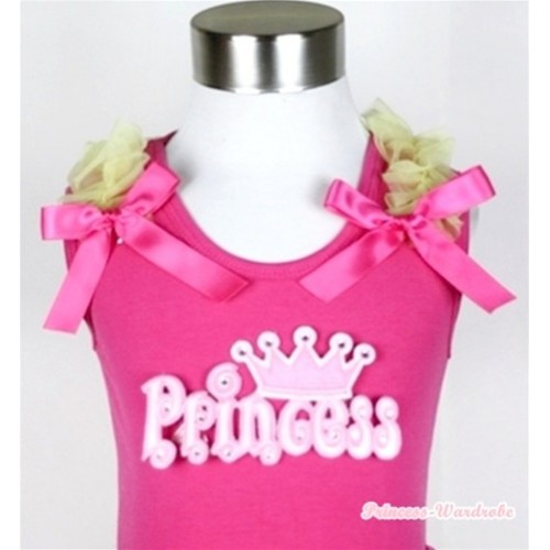 Hot Pink Tank Top With Princess With Yellow Ruffles & Hot Pink Bow TM214