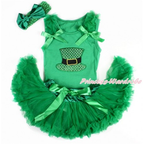 Kelly Green Baby Pettitop with Kelly Green Ruffles & Kelly Green Bows with Sparkle Kelly Green Hat Print & Kelly Green Newborn Pettiskirt With Kelly Green Headband Kelly Green Satin Bow BG116