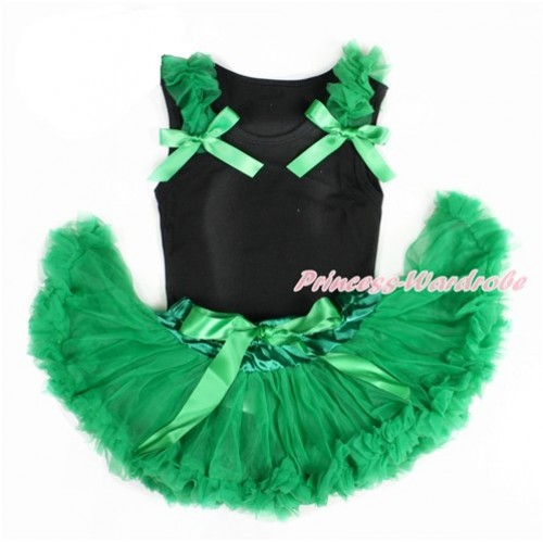 Black Baby Pettitop & Kelly Green Ruffles & Kelly Green Bows with Kelly Green Baby Pettiskirt NG1409