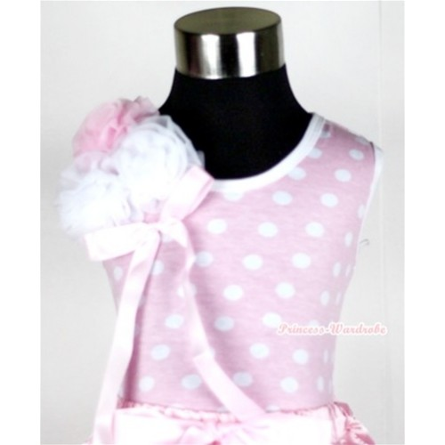 Light Pink White Dots Tank Top with Bunch of One Light Pink Two White Rosettes and Light Pink Bow TP124