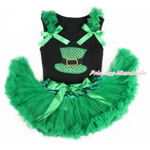 Black Baby Pettitop with Kelly Green Ruffles & Kelly Green Bow with Sparkle Kelly Green Hat Print with Kelly Green Newborn Pettiskirt NG1412