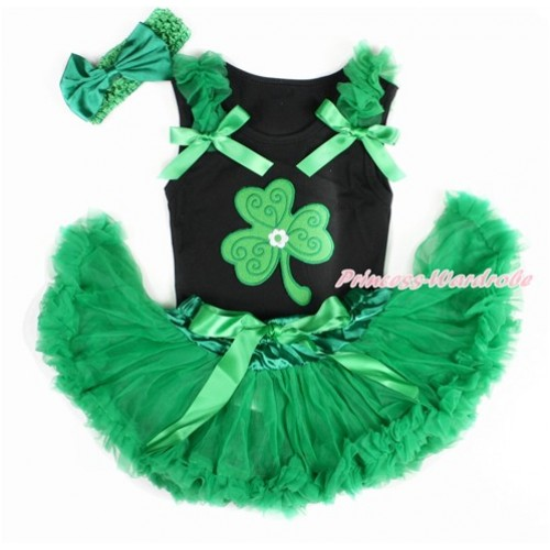 St Patrick's Day Black Baby Pettitop with Kelly Green Ruffles & Kelly Green Bows with Clover Print & Kelly Green Newborn Pettiskirt With Kelly Green Headband Kelly Green Satin Bow NG1415