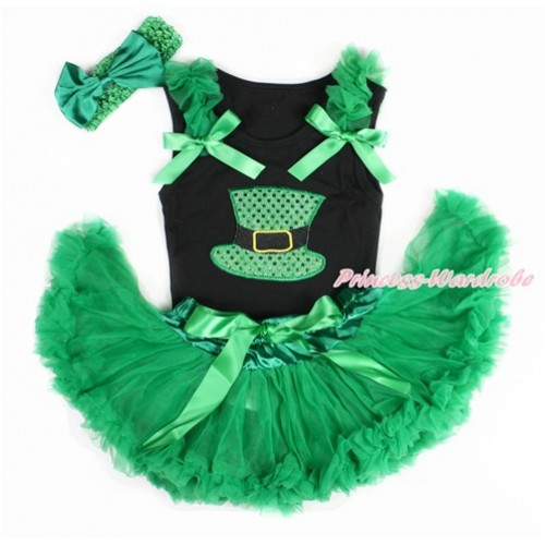 Black Baby Pettitop with Kelly Green Ruffles & Kelly Green Bows with Sparkle Kelly Green Hat Print & Kelly Green Newborn Pettiskirt With Kelly Green Headband Kelly Green Satin Bow NG1416