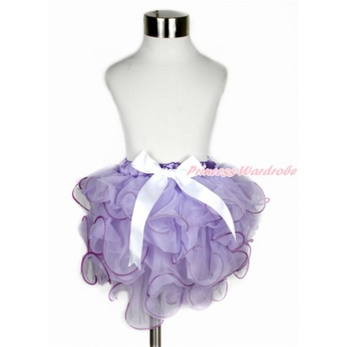 Lavender Flower Petal Newborn Baby Pettiskirt With White Bow N210