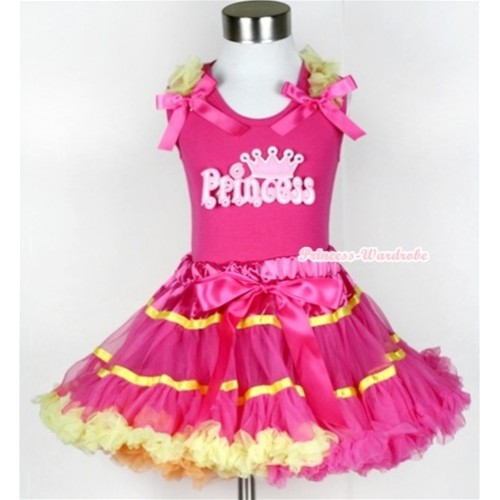 Hot Pink Tank Top with Princess Print with Yellow Ruffles & Hot Pink Bow & Rainbow Orange Hot Pink Yellow Mix Pettiskirt MH046