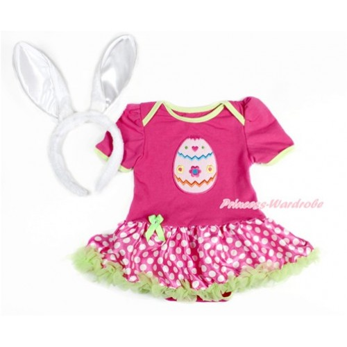 Easter Hot Pink Baby Jumpsuit Hot Pink White Dots Pettiskirt With Easter Egg Print With Rabbit Headband JS3144