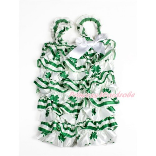 St Patrick's Day Green White Striped Clover Petti Romper with White Bow & Straps LR177