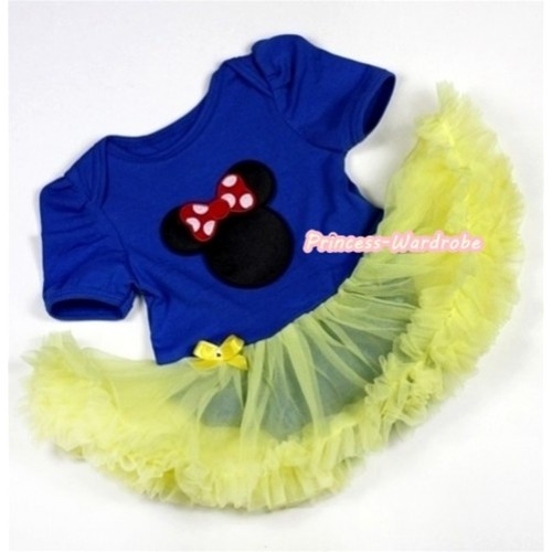 Royal Blue Baby Jumpsuit Yellow Pettiskirt with Minnie Print JS236