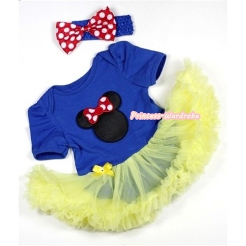 Royal Blue Baby Jumpsuit Yellow Pettiskirt With Minnie Print With Royal Blue Headband Minnie Dots Satin Bow JS282