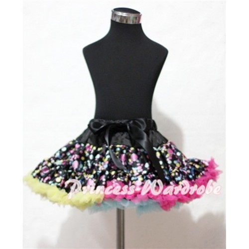Black Rainbow Polka Dots Full Pettiskirt P122