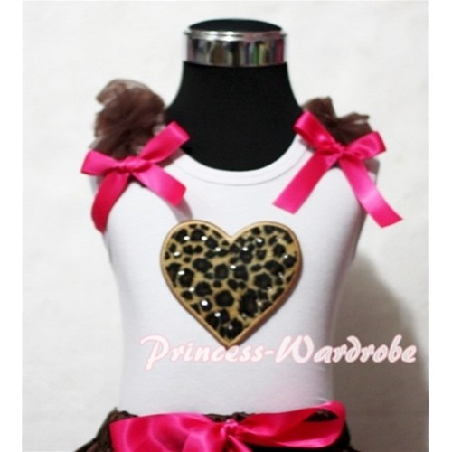 Leopard Sweet Heart White Tank Top with Brown Ruffles and Hot Pink Bows TB150