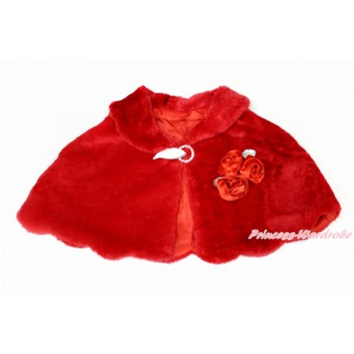 Red Rosettes & Crystal with Hot Red Soft Fur Wedding Flower Girl Shawl Coat SH53