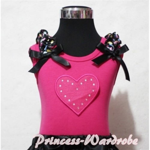 Hot Pink Sweet Heart Hot Pink Tank Top with Rainbow Dot Ruffles Black Bows TM172