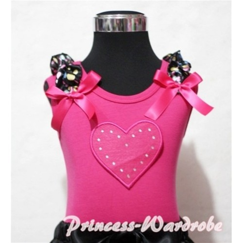 Hot Pink Sweet Heart Hot Pink Tank Top with Rainbow Dot Ruffles Hot Pink Bows TM173