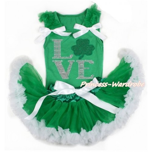 St Patrick's Day Kelly Green Baby Pettitop with Kelly Green Ruffles & White Bows with Sparkle Crystal Bling Rhinestone Love Clover Print with Kelly Green White Newborn Pettiskirt BG122