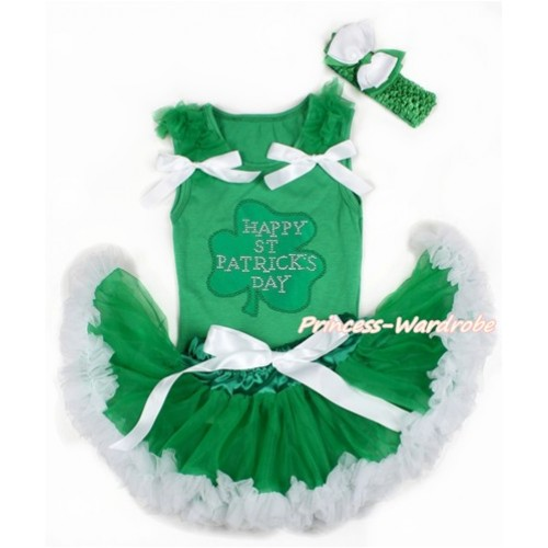 St Patrick's Day Kelly Green Baby Pettitop with Kelly Green Ruffles & White Bows with Sparkle Crystal Bling Rhinestone Clover Print & Kelly Green White Newborn Pettiskirt With Kelly Green Headband White Kelly Green Ribbon Bow BG123
