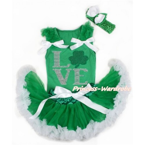 St Patrick's Day Kelly Green Baby Pettitop with Kelly Green Ruffles & White Bows with Sparkle Crystal Bling Rhinestone Love Clover Print & Kelly Green White Newborn Pettiskirt With Kelly Green Headband White Kelly Green Ribbon Bow BG124