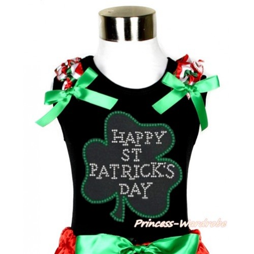 St Patrick's Day Black Tank Top With Red White Green Wave Ruffles & Kelly Green Bow With Sparkle Crystal Bling Rhinestone Clover Print TB677
