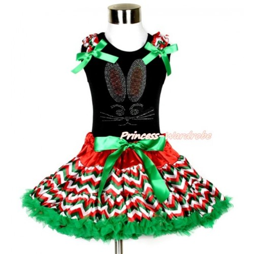 Easter Black Tank Top with Red White Green Wave Ruffles & Kelly Green Bow with Sparkle Crystal Bling Rhinestone Bunny Rabbit Print & Red White Green Wave Pettiskirt MG1069
