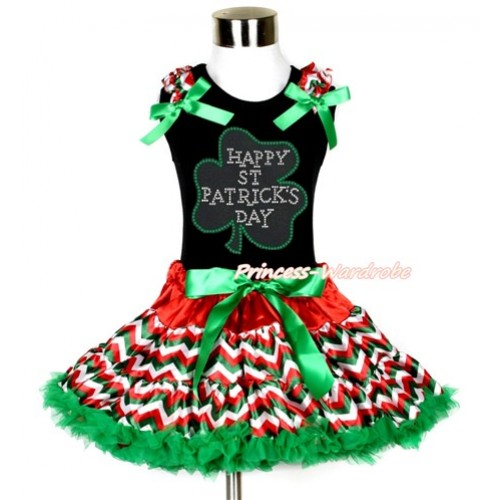 St Patrick's Day Black Tank Top with Red White Green Wave Ruffles & Kelly Green Bow with Sparkle Crystal Bling Rhinestone Clover Print & Red White Green Wave Pettiskirt MG1067-1