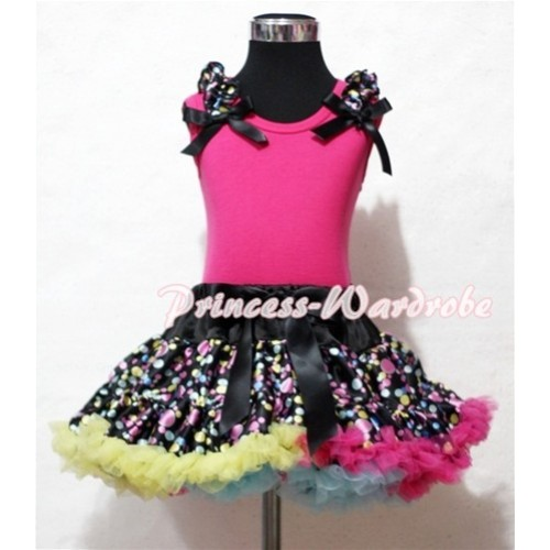 Black Rainbow Polka Dot Pettiskirt with Black Rainbow Dot Ruffles Black Ribbon Hot Pink Tank Top MG34