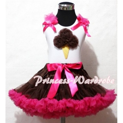 Brown Hot Pink Pettiskirt With Brown Ice Cream White Tank Top and Hot Pink Ruffles Hot Pink Bows ML41