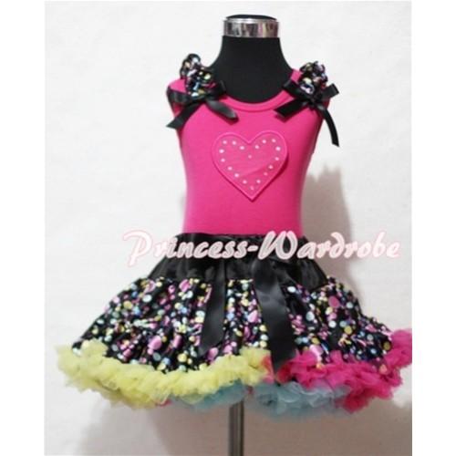 Hot Pink Sweet Heart Print & Black Rainbow Dot Ruffles & Black Bow Hot Pink Tank Top with Black Rainbow Polka Dot Pettiskirt MM139