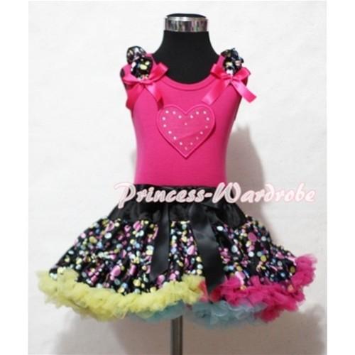 Hot Pink Sweet Heart Print & Black Rainbow Dot Ruffles & Hot Pink Bow Hot Pink Tank Top with Black Rainbow Polka Dot Pettiskirt MM140