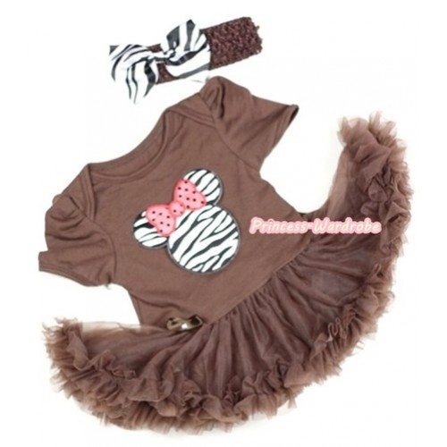 Brown Baby Jumpsuit Brown Pettiskirt With Zebra Minnie Print With Brown Headband Zebra Satin Bow JS286