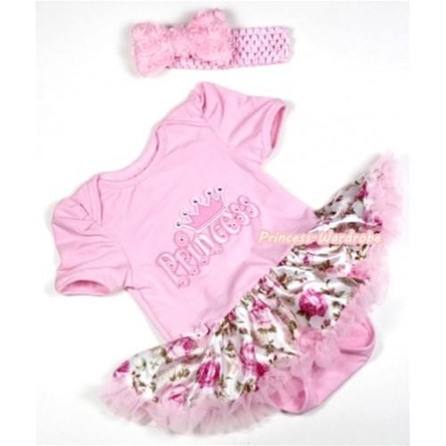 Light Pink Baby Jumpsuit Light Pink Rose Fusion Pettiskirt With Princess Print With Light Pink Headband Light Pink Romantic Rose Bow JS294